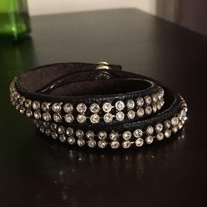 C&I Studded Leather Multi Wrap Bracelet (gold)